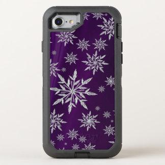 Funda OtterBox Defender Para iPhone 8/7 Estrellas púrpuras del navidad con el cristal de