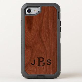 Funda OtterBox Defender Para iPhone 8/7 Iniciales cones monograma de madera de caoba de la