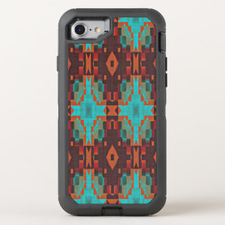 Funda OtterBox Defender Para iPhone 8/7 Modelo de mosaico tribal del rojo anaranjado del