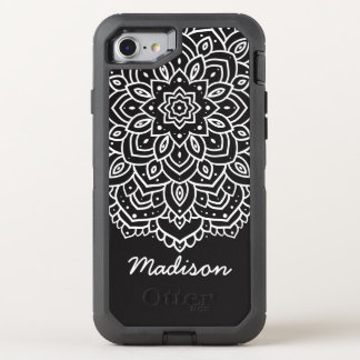 Funda OtterBox Defender Para iPhone 8/7 Nombre personalizado flor blanco y negro de la