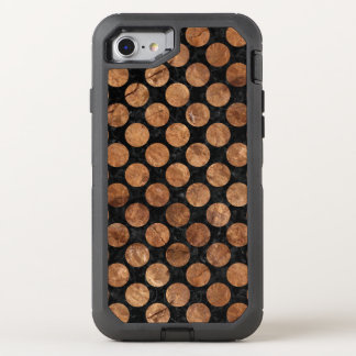 FUNDA OtterBox DEFENDER PARA iPhone 8/7 PIEDRA NEGRA DEL MÁRMOL CIRCLES2 Y DE BROWN
