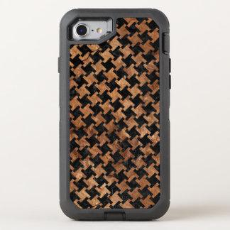 FUNDA OtterBox DEFENDER PARA iPhone 8/7 PIEDRA NEGRA DEL MÁRMOL HOUNDSTOOTH2 Y DE BROWN