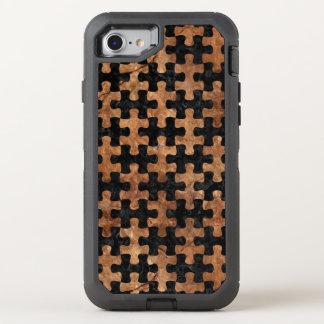 FUNDA OtterBox DEFENDER PARA iPhone 8/7 PIEDRA NEGRA DEL MÁRMOL PUZZLE1 Y DE BROWN