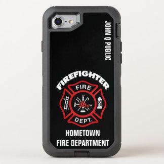 Funda OtterBox Defender Para iPhone 8/7 Plantilla roja del nombre del bombero