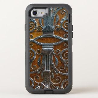 Funda OtterBox Defender Para iPhone 8/7 Puerta de mirada enrrollada de madera marrón de