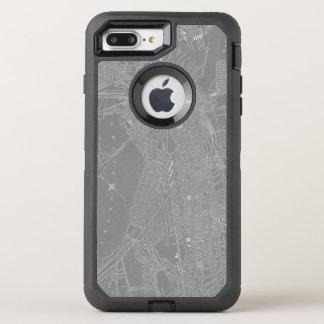 Funda OtterBox Defender Para iPhone 8 Plus/7 Plus Bosquejo del mapa de la ciudad de Boston