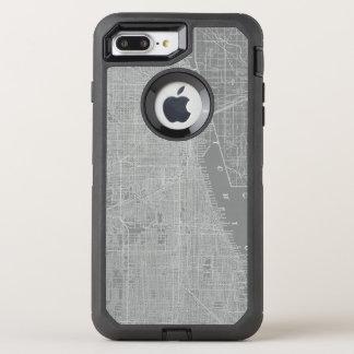 Funda OtterBox Defender Para iPhone 8 Plus/7 Plus Bosquejo del mapa de la ciudad de Chicago