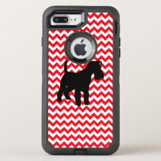 Funda OtterBox Defender Para iPhone 8 Plus/7 Plus Coche de bomberos Chevron rojo con el Schnauzer