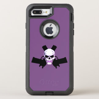 Funda OtterBox Defender Para iPhone 8 Plus/7 Plus Dos pistolas y cráneos, caja púrpura de Otterbox