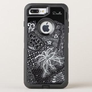 Funda OtterBox Defender Para iPhone 8 Plus/7 Plus Personalice: Tinta blanca en arte negro del Doodle