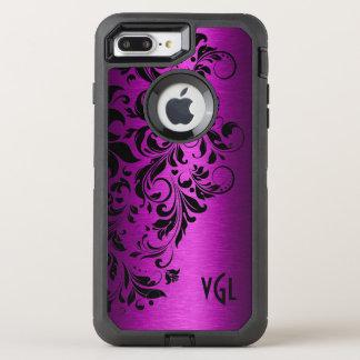 Funda OtterBox Defender Para iPhone 8 Plus/7 Plus Textura metálica de color rosa oscuro y cordón