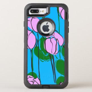 Funda OtterBox Defender Para iPhone 8 Plus/7 Plus Tulipanes rosados dibujados mano en azul de cielo