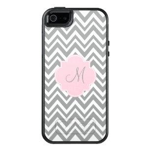 Funda Otterbox Para iPhone 5/5s/SE Chevron gris y blanco del monograma con rosa en
