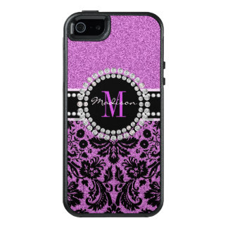 Funda Otterbox Para iPhone 5/5s/SE Damasco púrpura, nombre y monograma del purpurina