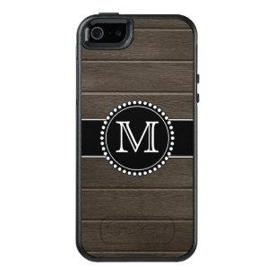 Funda Otterbox Para iPhone 5/5s/SE Falso negro de madera, con monograma