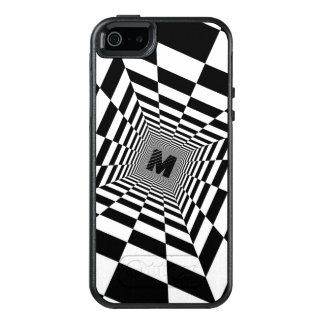 Funda Otterbox Para iPhone 5/5s/SE Ilusión, monograma o inicial visual negro y blanco
