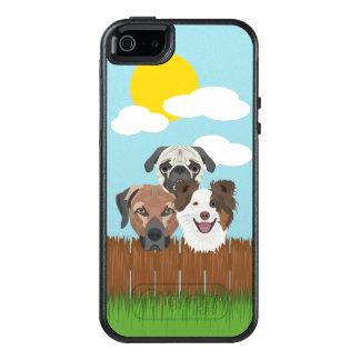 Funda Otterbox Para iPhone 5/5s/SE Perros afortunados del ilustracion en una cerca de
