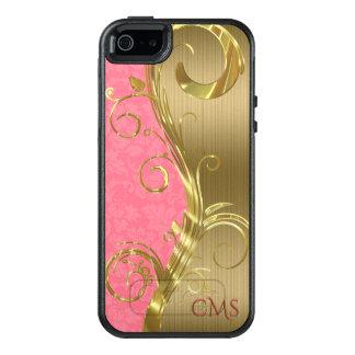 Funda Otterbox Para iPhone 5/5s/SE Rayas de moda del oro y damasco rosado