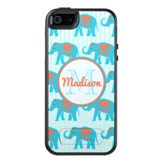 Funda Otterbox Para iPhone 5/5s/SE Turquesa del trullo, elefantes azules en nombre de