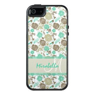 Funda Otterbox Para iPhone 5/5s/SE Verde menta en colores pastel enorme, rosas beige