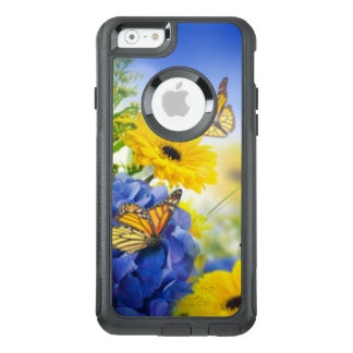 Funda Otterbox Para iPhone 6/6s Flores amarillas azules con las mariposas