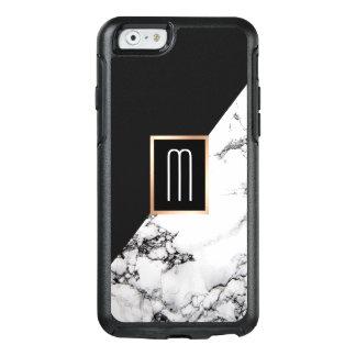 Funda Otterbox Para iPhone 6/6s Monograma de mármol blanco negro único moderno de