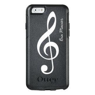 Funda Otterbox Para iPhone 6/6s nota blanco y negro de la música con nombre