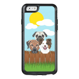 Funda Otterbox Para iPhone 6/6s Perros afortunados del ilustracion en una cerca de