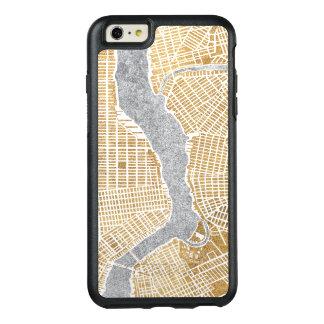 Funda Otterbox Para iPhone 6/6s Plus Mapa dorado de la ciudad de Nueva York