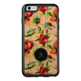 Funda Otterbox Para iPhone 6/6s Plus Modelo beige de los rosas de madera y rojos