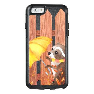 Funda Otterbox Para iPhone 6/6s racoon con el paraguas que camina por la cerca