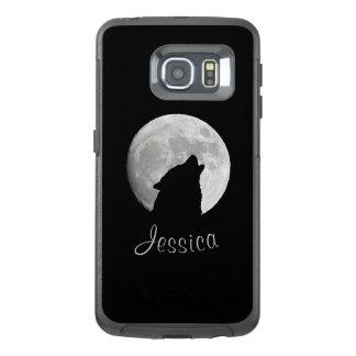 Funda OtterBox Para Samsung Galaxy S6 Edge Lobo que grita en la Luna Llena, su nombre