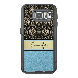 Funda OtterBox Para Samsung Galaxy S6 El brillo azul claro, oro negro remolina nombre