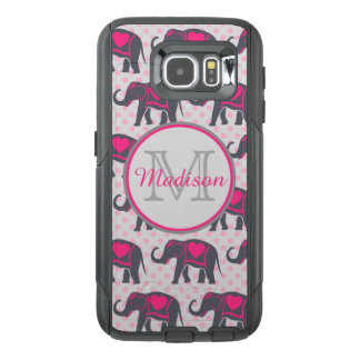 Funda OtterBox Para Samsung Galaxy S6 Elefantes de rosas fuertes grises en los lunares