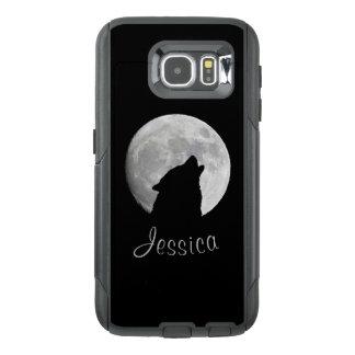 Funda OtterBox Para Samsung Galaxy S6 Lobo que grita en la Luna Llena, su nombre