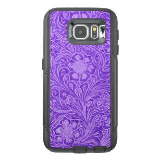 Funda OtterBox Para Samsung Galaxy S6 Mirada púrpura del ante del estampado de flores G1