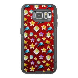 Funda OtterBox Para Samsung Galaxy S6 Pájaros y flores de la primavera roja