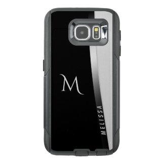 Funda OtterBox Para Samsung Galaxy S6 Plata blanca negra elegante, nombre y monograma