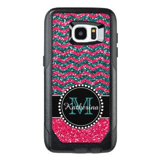Funda OtterBox Para Samsung Galaxy S7 Edge Brillo Chevron del azul y del rosa personalizado
