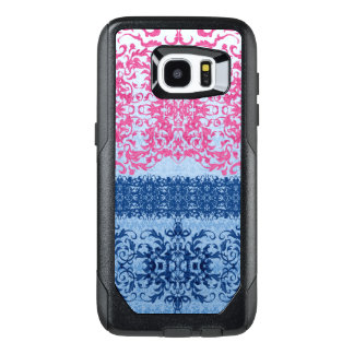 Funda OtterBox Para Samsung Galaxy S7 Edge Flor de lis compleja en rosa y azul