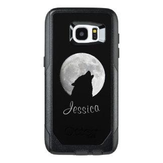 Funda OtterBox Para Samsung Galaxy S7 Edge Lobo que grita en la Luna Llena, su nombre