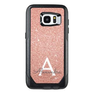 Funda OtterBox Para Samsung Galaxy S7 Edge Monograma color de rosa rosado del purpurina y de