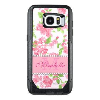 Funda OtterBox Para Samsung Galaxy S7 Edge Nombre de ramas rosado del flor de la acuarela de