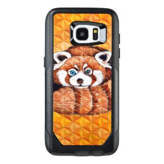 Funda OtterBox Para Samsung Galaxy S7 Edge Panda roja en el cubismo anaranjado Geomeric