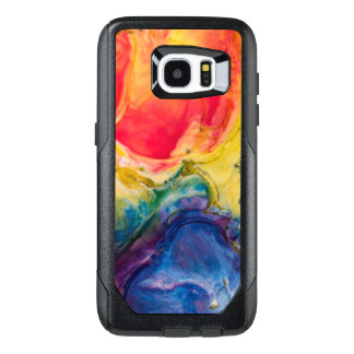 Funda OtterBox Para Samsung Galaxy S7 Edge Pintura abstracta azul amarilla roja