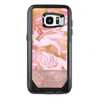 Funda OtterBox Para Samsung Galaxy S7 Edge Purpurina del oro del oro y mármol rosados de la