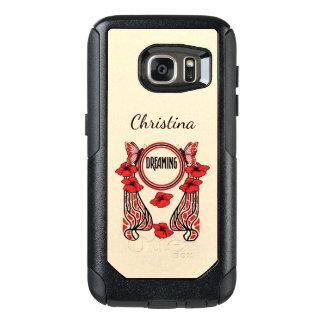 Funda Otterbox Para Samsung Galaxy S7 El rojo abstracto del diseño del círculo florece