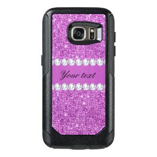 Funda Otterbox Para Samsung Galaxy S7 Falsas lentejuelas púrpuras elegantes y diamantes