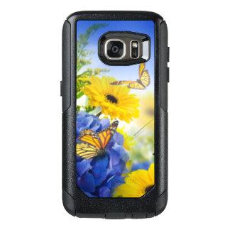 Funda Otterbox Para Samsung Galaxy S7 Flores amarillas azules con las mariposas