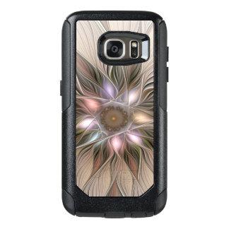 Funda Otterbox Para Samsung Galaxy S7 Fractal floral beige de Brown del extracto alegre
